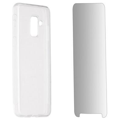 Kit 2 em 1 Celular Mart - Película de Vidro e Case de Silicone Transparente para Galaxy A8 2018