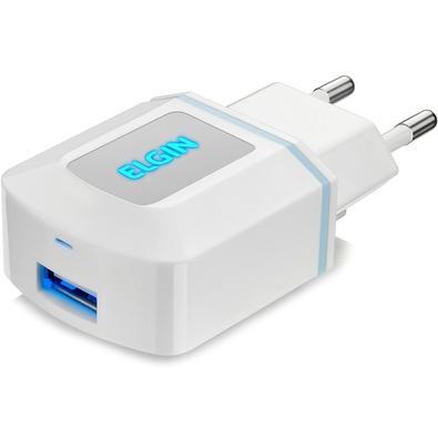Carregador de Parede Elgin, 1 Porta USB, Bivolt, 1A 5W - Branco