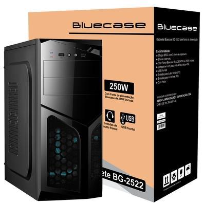 Gabinete Bluecase BG-2522 com Fonte 250W, Preto - BG2522GCASE
