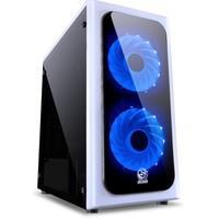 Gabinete Gamer PCYes Venus sem Fonte, Mid Tower, USB 3.0, 2 Fans LED Azul, Branco com Lateral em Acrílico - VENBCAZ2FCA