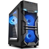 Gabinete Gamer Sharkoon VG7-W, Mid Tower, LED Blue, 3 Coolers, Lateral em Acrílico, Preto