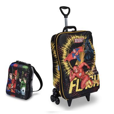 Mochila Escolar 3D com Rodinhas e Lancheira MaxToy Liga Da Justiça The Flash
