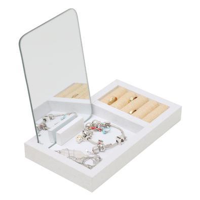 Porta Joias madeira com espelho branco