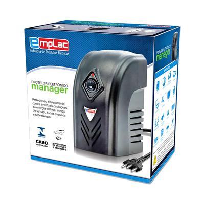 Protetor Eletrônico Emplac, 500VA, 300W, 4 Tomadas 10A, Entrada 127V/220V, Saída 115V, Cabo de 1 Metro - F60002