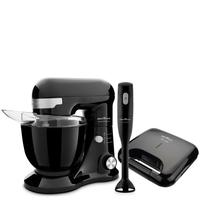 Kit Cozinha Batedeira, Grill e Mixer, Britânia, Cozinha com Amor Preto, 220V
