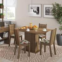 Conjunto Sala de Jantar, Madesa, Lexy, Mesa Tampo de Madeira com 4 Cadeiras, Rustic/Floral Hibiscos