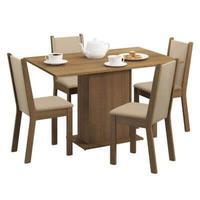Conjunto Sala de Jantar Madesa Talita, Mesa Tampo de Madeira, com 4 Cadeiras Rustic/Crema/Pérola