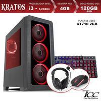 PC Gamer ICC KT2346KW Intel Core I3 3,20 Ghz 4GB 120GB SSD GT710 2GB Kit Multimídia Windows 10