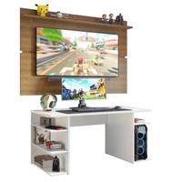 Mesa Gamer Madesa e Painel para TV até 65 Polegadas, Branco/Rustic