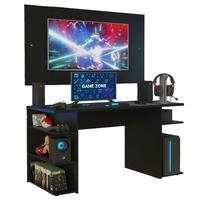 Mesa Gamer Madesa 9409 e Painel para TV até 58 Polegadas, Preto