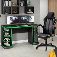 Kit Bela Mesa Gamer XP + Cadeira Gamer MoobX Royale Confort, Preto