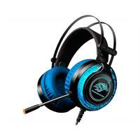 Headset Gamer K-Mex com Led RGB, Ajuste de Volume e Microfone, Preto/Azul - ARS9