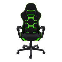Cadeira Gamer Pelegrin em Couro Pu, Reclinável, Suporta até 150Kg, Preta e Verde - Pel-3018