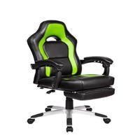 Cadeira Gamer Pelegrin em Couro Pu, Suporta até 150Kg, Preto e Verde, Pel-3006
