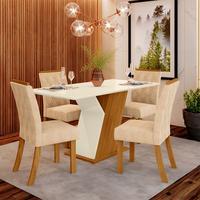 Conjunto Sala de Jantar Lupita com 4 Cadeiras Estofadas e Mesa com Tampo MDF