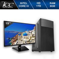 Computador Desktop ICC IV2382DWM19 Intel Core I3 3.20 ghz 8GB HD 1TB DVDRW HDMI FULL HD Monitor LED 19,5 Windows 10
