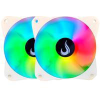 Kit 2x Cooler Fan Rise Mode Led RGB, 120mm, Branco - Rm-mb-02-12