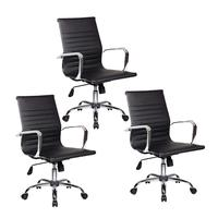 Conjunto Bela Com 3 Cadeiras Diretor Boston Giratória Regulagem De Altura À Gás Esteirinha