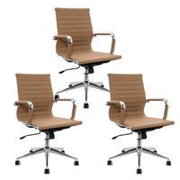 Conjunto com 3 Cadeiras Diretor Boston Giratória com Regulagem de Altura à Gás, Esteirinha