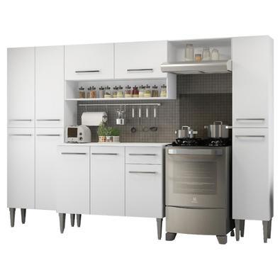 Cozinha Completa Madesa Emilly Hit com Armário e Balcão Branco Cor:Branco