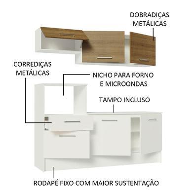 Cozinha Compacta Madesa Onix 180001 com Armário e Balcão Branco/Rustic Cor:Branco/Rustic