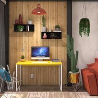 Mesa Em Metal Com Tampo De Aço Colorido   Tam: 120x60   Cor: Amarelo E Branco