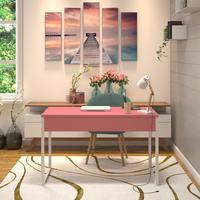 Mesa Em Metal Com Tampo De Aço Colorido   Tam: 120x60   Cor: Rosa E Branco