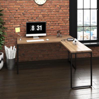 Mesa Em L P/ Escritório Diretor Metal E Madeira Industrial   Tam: 150x60   Cor: Lamina Dourada