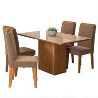 Conjunto De Mesa Com 4 Cadeiras Para Sala De Jantar 130x80 Ana/tais-cimol - Savana / Off White / Pluma