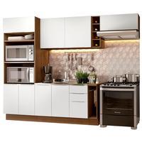 Cozinha Completa Madesa Stella 290002 com Armário e Balcão Rustic/Branco Cor:Rustic/Branco