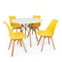 Kit Mesa Jantar Eiffel 100cm Branca + 04 Cadeiras Leda - Amarela