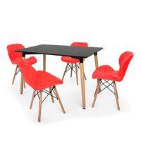 Kit Mesa Jantar Eiffel 120x80 Preta + 04 Cadeiras Slim - Vermelha