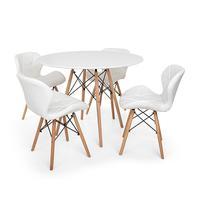 Kit Mesa Jantar Eiffel 120cm Branca + 04 Cadeiras Slim - Branca