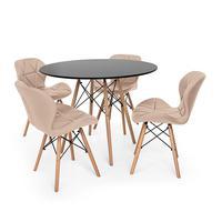 Kit Mesa Jantar Eiffel 80cm Preta + 04 Cadeiras Slim - Nude
