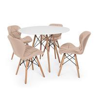 Kit Mesa Jantar Eiffel 90cm Branca + 04 Cadeiras Slim - Nude