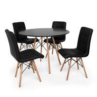 Kit Mesa Jantar Eiffel 120cm Preta + 04 Cadeiras Gomos - Preta