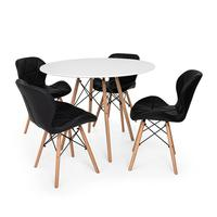 Kit Mesa Jantar Eiffel 100cm Branca + 04 Cadeiras Slim - Preta