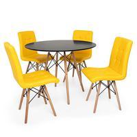 Kit Mesa Jantar Eiffel 120cm Preta + 04 Cadeiras Gomos - Amarela