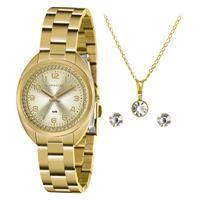 Kit Relógio Feminino Lince Analógico Dourado - Lrg4679l-kz79c2kx - Unico