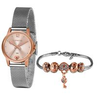 Kit Relógio Feminino Lince Analógico Rosê Com Prata - Lrt4677l-kz91r2s - Unico