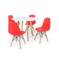 Conjunto Mesa De Jantar Laura 100cm Branca Com 4 Cadeiras Charles Eames Botonê - Vermelha