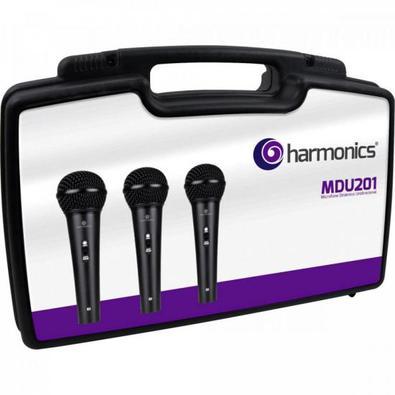 Kit c/ 3 Microfones Dinâmicos Cardióide MDU201 HARMONICS - KI / 3