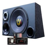 Kit Som Caixa Trio Woofer Compet Radio Aparelho Bluetooth Woofer Compet + Radio
