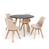 Conjunto Mesa De Jantar Laura 100cm Preta Com 4 Cadeiras Eames Wood Leda - Nude