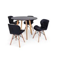 Conjunto Mesa De Jantar Laura 100cm Preta Com 4 Cadeiras Eames Eiffel Slim - Preta