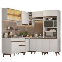 Cozinha Completa de Canto Madesa Reims 402001 com Armário e Balcão Branco Cor:Branco