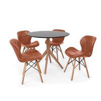 Conjunto Mesa De Jantar Maitê 80cm Preta Com 4 Cadeiras Eames Eiffel Slim - Marrom