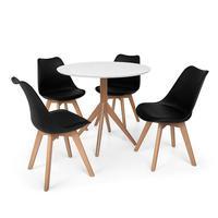 Conjunto Mesa De Jantar Maitê 80cm Branca Com 4 Cadeiras Eames Wood Leda - Preta