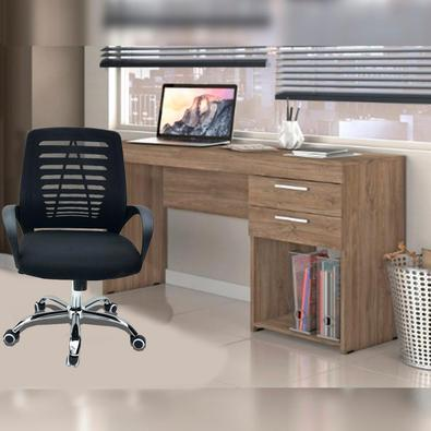 Conjunto Escritório Home Office Com Escrivaninha 2 Gavetas Canela E Cadeira Giratória Viena Preta