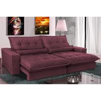 Sofa Retrátil E Reclinável 2,72m Com Molas Ensacadas Cama Inbox Soft Tecido Suede Vinho